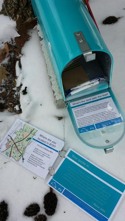 teal mail boxes - rtp scavenger hunt