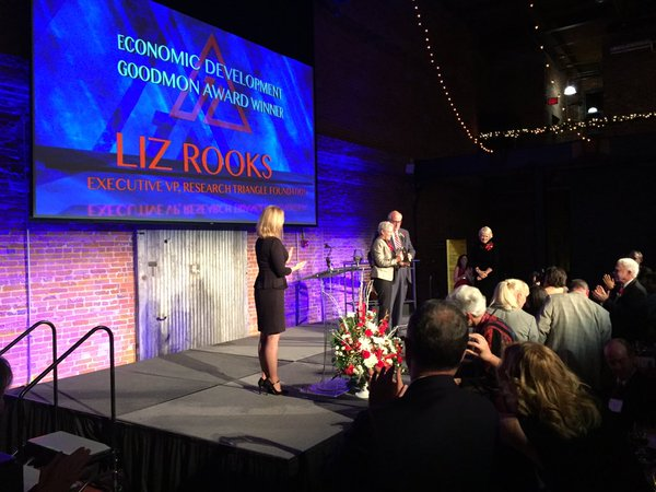 Liz Rooks takes the stage to receive a 2015 Goodmon Award.
