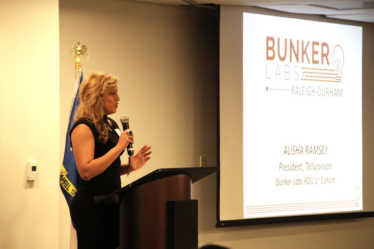 Alisha Ramsey address the audience at the Bunker Labs RDU launch event