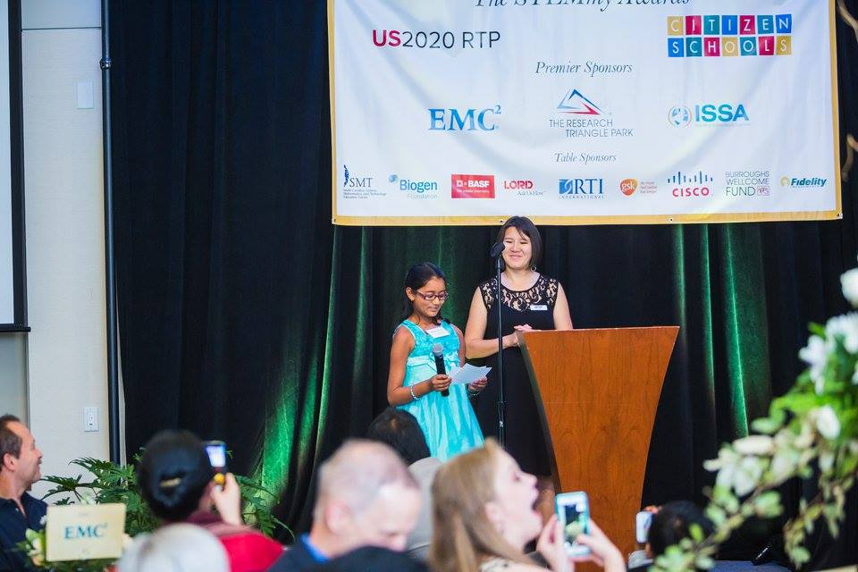 Student of the Year, K-8 Mansi Goyal accepts her STEMmy