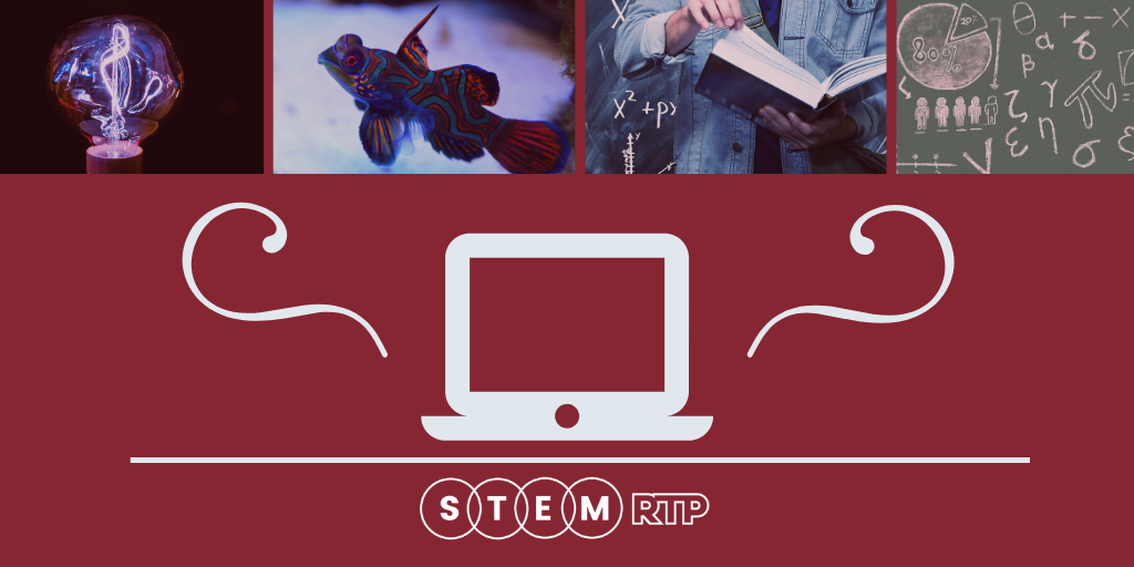 Laptop icon on red background with STEM concepts as a banner across the top