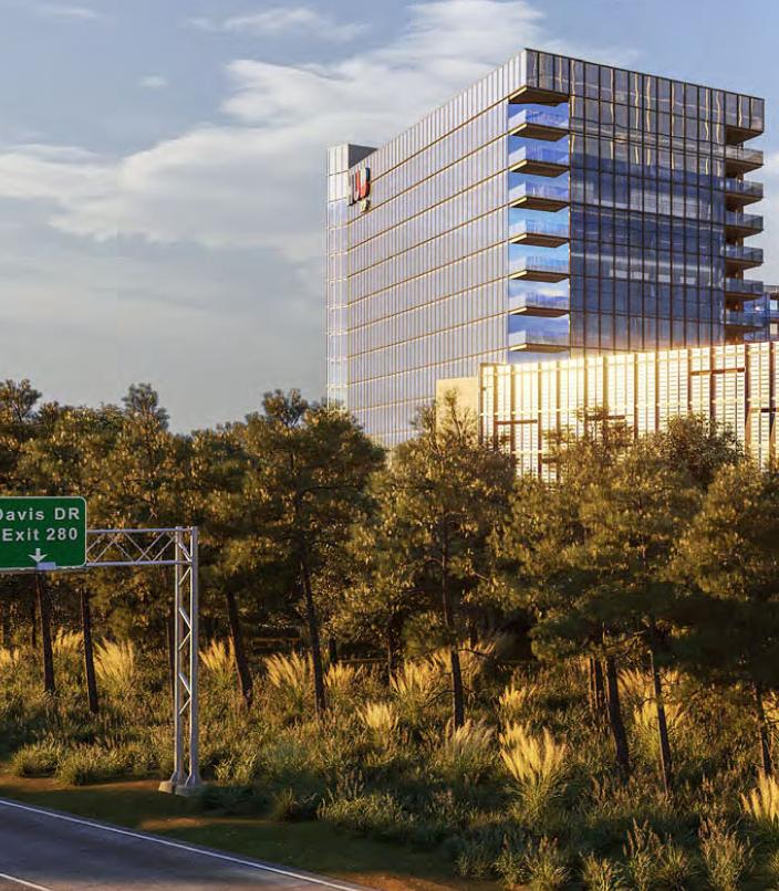 Rendering of tall Hub RTP hotel seen along Interstate 40, near Davis Drive exit.