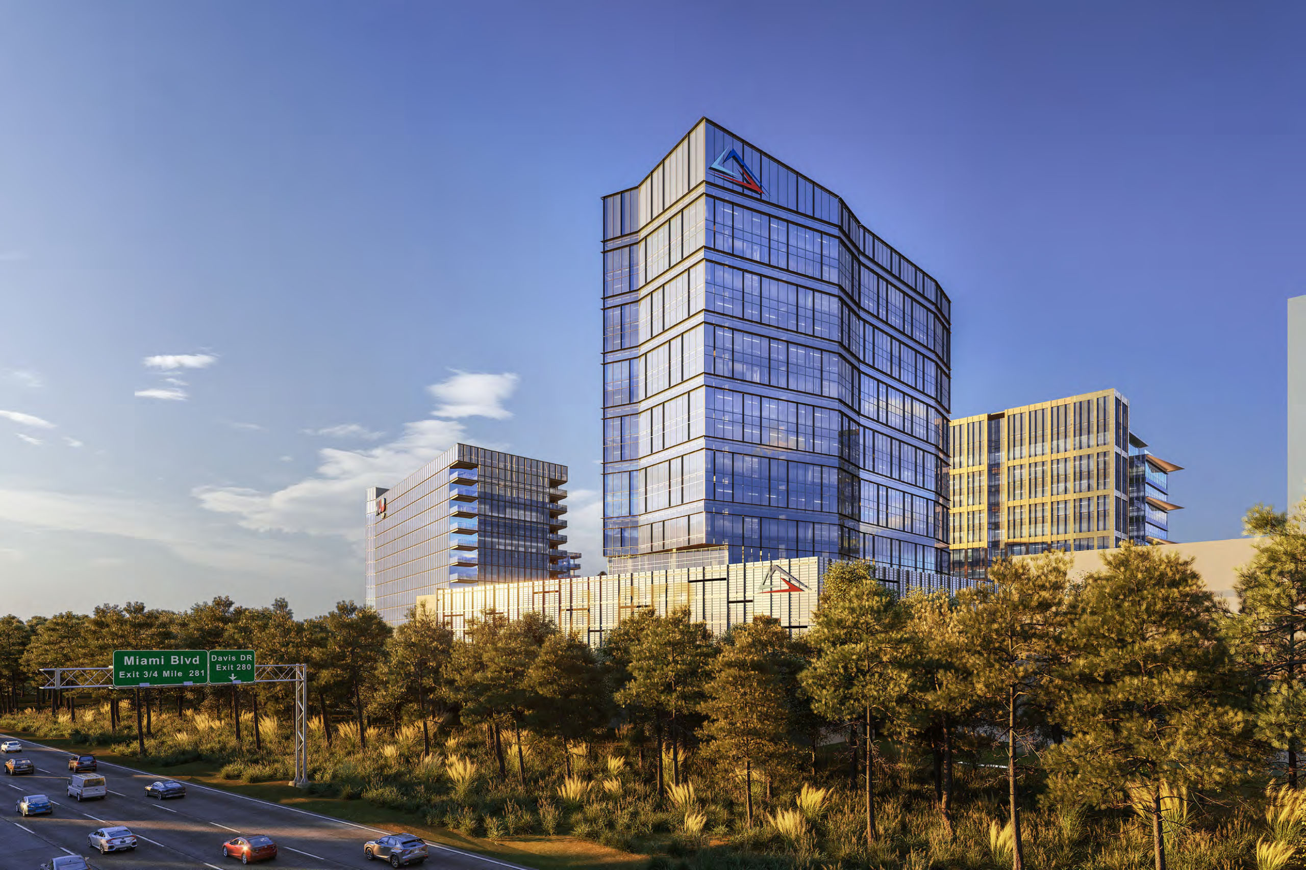 Rendering of tall Hub RTP hotel seen along Interstate 40, near Davis Drive exit.