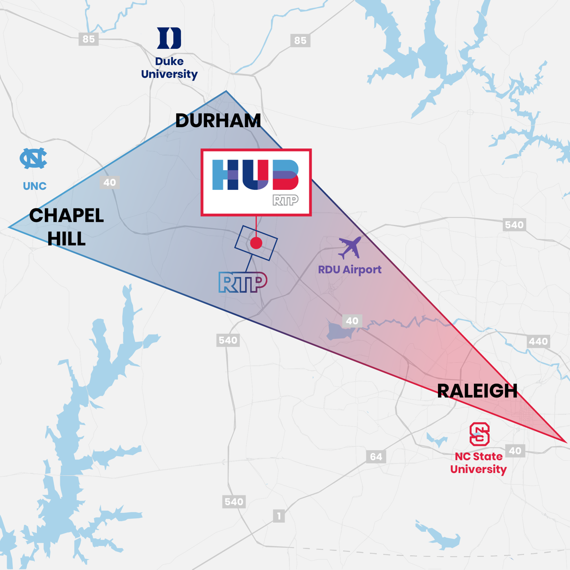 Map of Hub RTP's location, right in the middle of Raleigh (NC State University), Durham (Duke University), and Chapel Hill (UNC).
