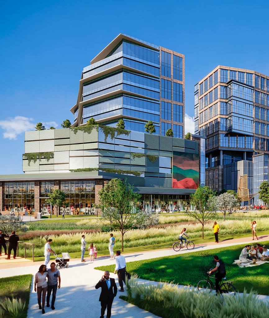 Rendering of Hub RTP containing a mix of tall buildings, sidewalks with lots of greenery, and people enjoying the day.