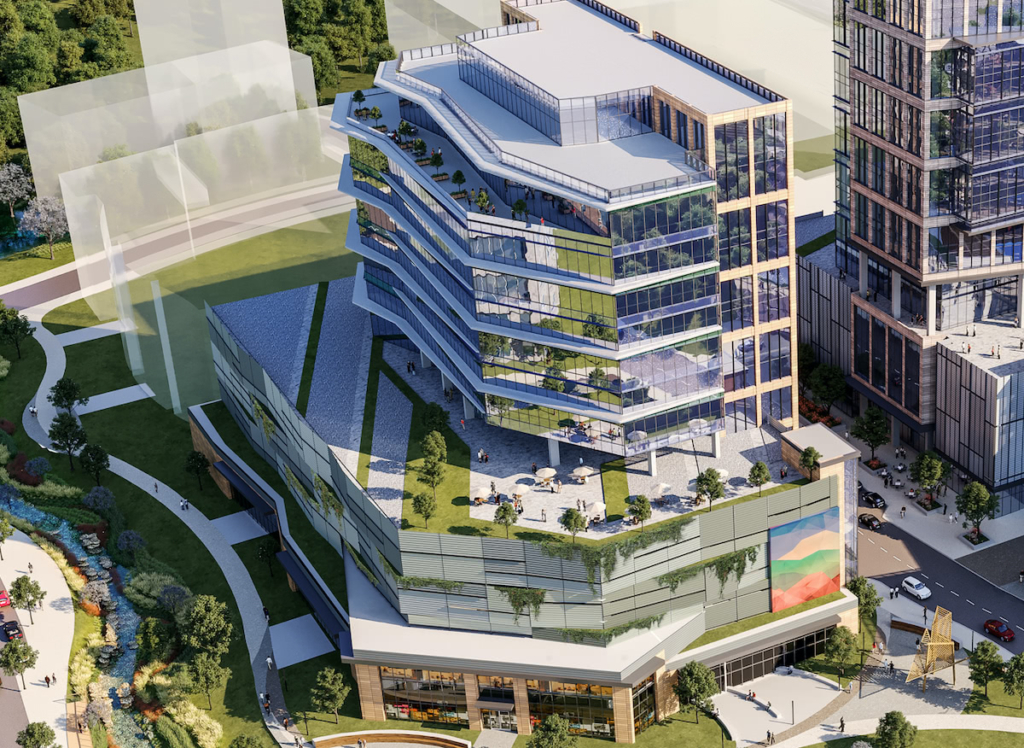 High fidelity rendering of the high-rise office building coming to Hub RTP. Multiple floors with modern reflective glass and a rooftop terrace are all featured here.