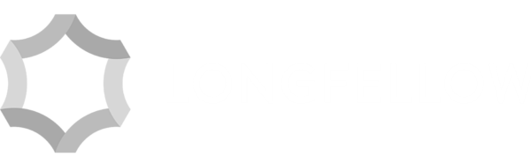 Longfellow real estate logo in grey and white
